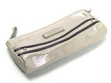 LONGCHAMP Paris $260 Suede Leather Metallic Sheen Top Zip Clutch Pouch