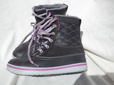 Crocs Black Purple Boots Women's 6 Faux Fur Insulated Lace Up Cool Mint