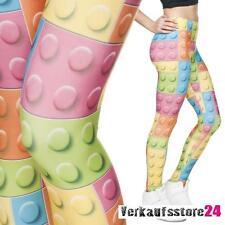 Bausteine LEGGINS Hose Muster Leggings Damen Print Leggings Farb Leggings Neu