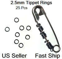 25 Tippet Rings 2.5mm Dry/Wet/Nymph Fly Leader Tippet Ring Rig Black  FREE SHIP