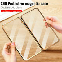 Magnetic 360° Adsorption Metal Double Glass Case For Apple iPhone XS Max XR 8 7+