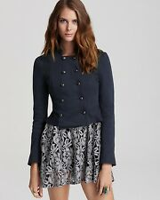 FREE PEOPLE Victorian Lace Overlay Jacket Blue Size US4 Orig. $168 NWT