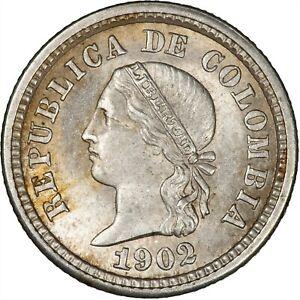 Colombia 1902 5 Centavos LUSTROUS UNC