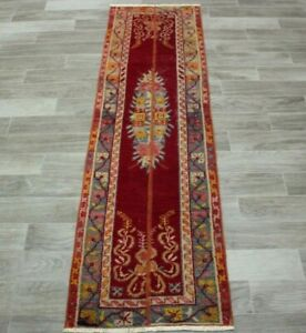 Red Color Runner Rug Hand Knotted Anatolian Turkish Vintage Ethnic Carpet 2x7ft.
