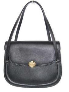 Authentic Vintage Gucci Black Textured Leather Front GG Lock Satchel Bag