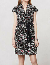 MAEVE Anthropologie Odelia Shirtdress black sunglasses clovers XS