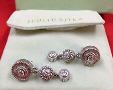 JUDITH RIPKA Silver/925 Round Cubic Zirc .Dangle Drop Leverback Earrings 14.7g