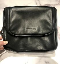 Kenneth Cole Black Leather Travel Vanity Cosmetic Case
