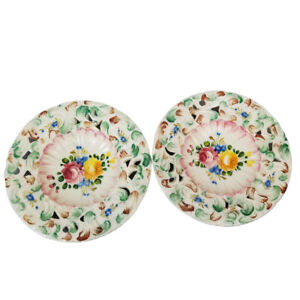 Pair Vintage Italy Ceramic Floral Dish Cut Out Raised Hand Painted Cottagecore