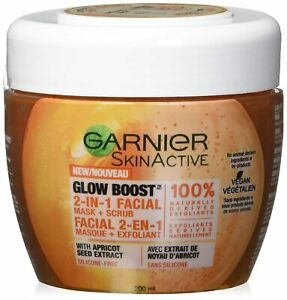 Garnier SkinActive Glow Boost 2-in-1 Facial Mask and Scrub, 6.76 fl.oz - Vegan