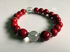Damenarmband Armband handgefertigt Türkis & Bergkristall