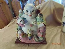 "Antique Porcelain Chinese Buddha with Children Estimated1880 194011""tall by""10w."