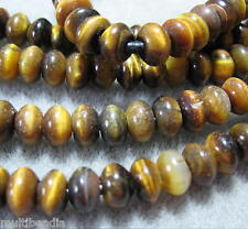 """Golden Brown Tigers Eye 5x8mm Rondelle Beads Large 2mm Hole 8"""" Strand"""