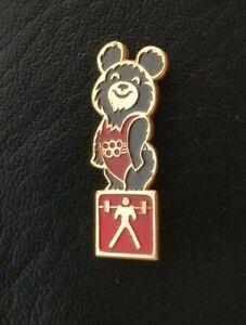 1980 Weightlifting Misha Bear Mascot XXII Olympic Games Pin Badge IWF USSR