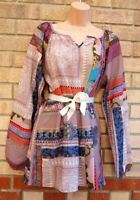 COTTON TRADERS MULTI COLOUR PAISLEY BOHEMIAN BELTED LONG SLEEVE TOP BLOUSE 16 XL
