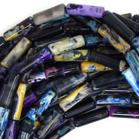 "13mm multicolor agate tube beads 15.5"" strand"