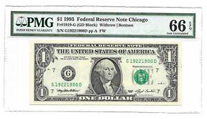 1993 $1 CHICAGO FRN, PMG GEM UNCIRCULATED 66 EPQ BANKNOTE