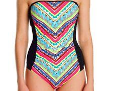 NWT Anne Cole Ethnic Stripe Shirred Swimsuit Bright Chevron One-Piece Size 6