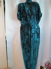 "VINTAGE ""ALGO-ETTES"" METALLIC TEAL ONE PIECE JUMPSUIT SIZE 5 86% ACETATE '70'S?"