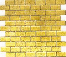 Mosaik Verbund Glasmosaik uni gold Struktur Fliesenspiegel Art:120-0784 10Matten