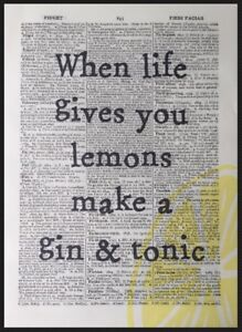 Gin & Tonic Quote Print Vintage Dictionary Page Wall Art Picture Alcohol Bar G&T