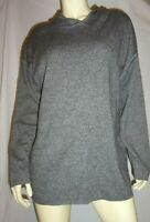- Eileen Fisher Gray/ Black 100% Cotton Hooded Pullover Size Medium /Oversized