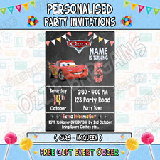 CARS MOVIE Personalised Birthday Party Invitations / Invites Party Supplies