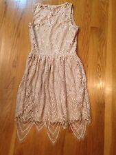 NWT MACY'S LOVE FIRE BEIGE OVER NUDE SWEETHEART CROCHET DRAPE HEM DRESS XS