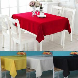 Rectangle Cotton Blend Table Cloth Cover Wedding Party Fa 11060c Tablecover E8X2