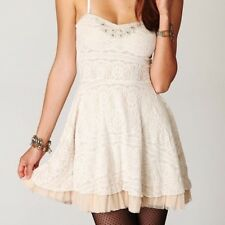 Free People Ivory Lace Beaded Fit & Flare Dress Size S