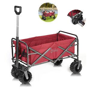Pull-Along Folding Hand Cart Garden Wagon Trolley Camping Beach Cart Red