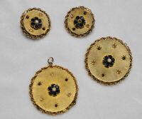 Vintage ROUND Gold Tone & BLUE RHINESTONE Clip Earrings PENDANT & PIN SET Parure