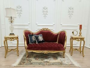 Baroque Throne Sofa / Aged Gold Leaf Finish /Hand Carved/ Tufted Currant red