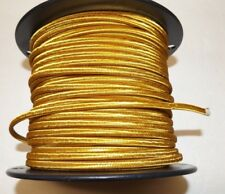 GOLD PARALLEL RAYON COVERED LAMP CORD 2 WIRE ANTIQUE VINTAGE STYLE 46630JB
