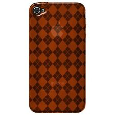 Flexible TPU Gel Case for iPhone 4 / 4S - Argyle Orange