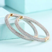 18K Gold Plated Micro Pave Clear CZ Inside Out Hoop Earrings 1.5