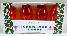 (4 Pack) of Transparent ORANGE C-7 Light Bulbs 5 Watt Holiday Christmas Night