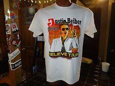 Justin Beiber 2013 Believe Tour white large t-shirt, Canadian singer/songwriter