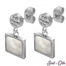 1 Pair Ear Studs Earrings Pearl Pendant Shell Rhinestone Stone Angular Silver