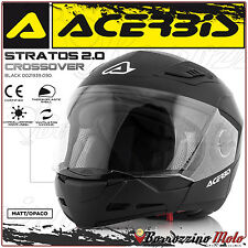 CASQUE ACERBIS STRATOS 2.0 CROSSOVER INTEGRAL/JET NOIR MAT MOTO SCOOTER TAILLE S
