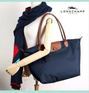 Longchamp Le Pliage 1899 Nylon Tote Handbag Shoulder Bag Size L Navyblue @82