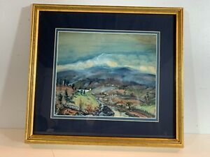 Vintage Water Color Landscape Painting View of Small Town Framed