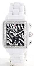 New Michele Deco White Ceramic Zebra MWW06F000010 Ladies Watch