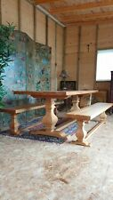 Solid Oak Refectory Dining Country Kitchen Table Benches French Rustic DELIVERY