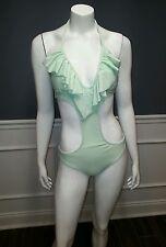 Express Monokini Swimsuit XS Green One Piece Ruffle $70 K2