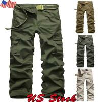 Men's Military Army Combat Trousers Tactical Work Camo Cargo Straight Long Pants