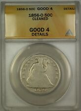 1856-O Seated Liberty Silver Half Dollar 50c Coin ANACS G-4 Details Cleaned
