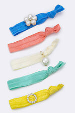 Blue, Coral, White, Mint, and Yellow Crystal and Pearl Hair Ties 5 Pieces