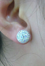 SPECIAL - 925 STERLING SILVER 10mm HALF BALL AB CRYSTAL STUDS EARRINGS - GIRL