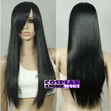 70cm Black Heat Styleable Long Cosplay Wigs 76_001